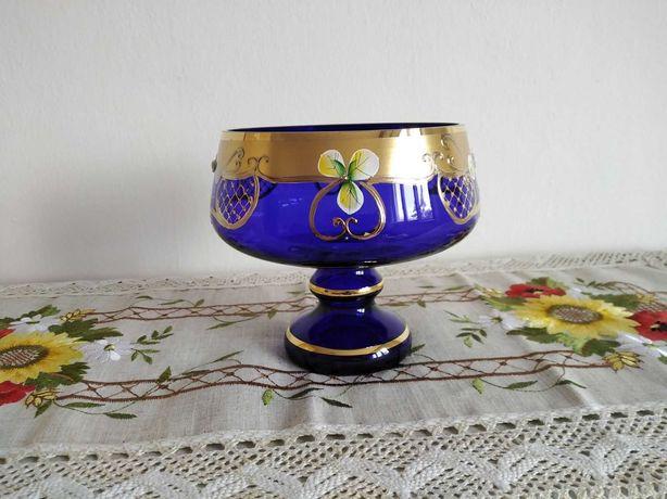 Настольная ваза для сладостей и фруктов, голубая (ручная роспись)