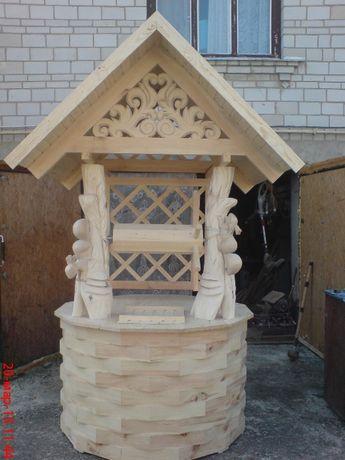 Домик для колодца деревянный с белками