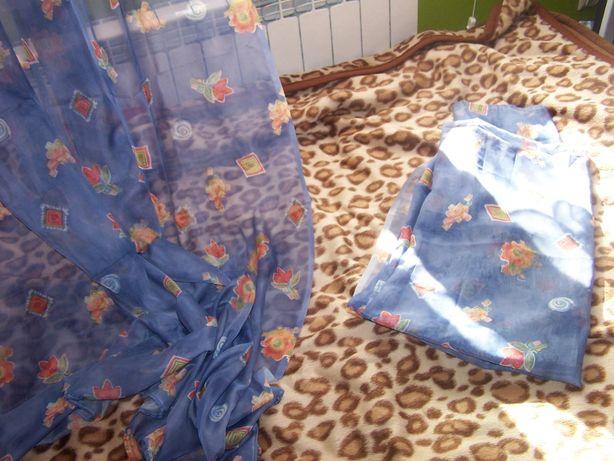 Firanki niebieskie w kwiatki 2 sztuki