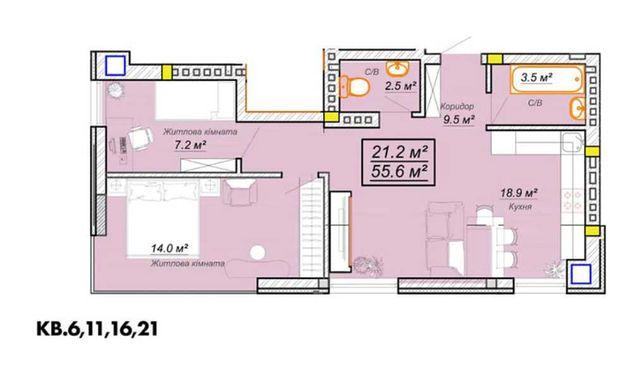Квартира у ЖК Grand Village, 56м, 2 окремі кімнати спальні