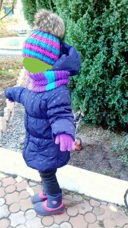 Вязаный комплект на 3-5 лет с натуральным помпоном Шапка Снуд