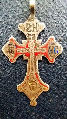 Крест серебро 84 пробы с эмалями