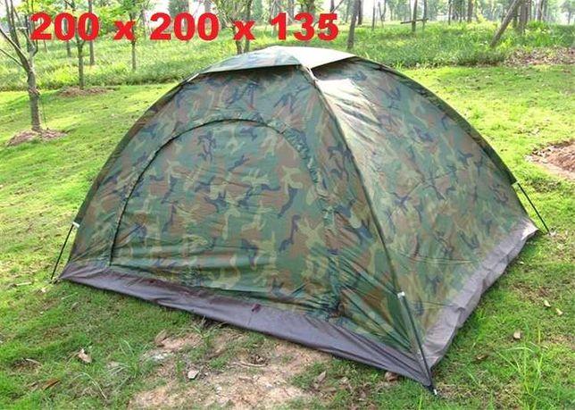 Палатка 3-х местная в 2 слоя для туризма 200х200х130. Автоматическая