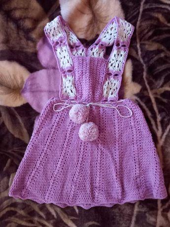 Вязаный сарафан крючком для девочки 4-6 лет