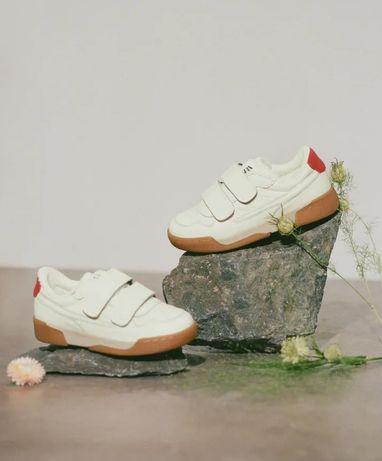 Zara кроссовки кожаные белые на липучках кожа новые 32 33 размер кеды