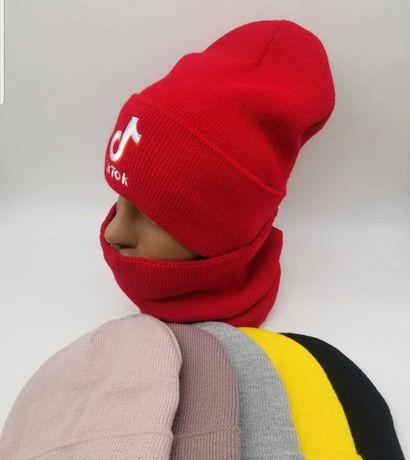 Шапки теплые Tik Tok ,Like ,хомут шарф  маски 4-18 лет