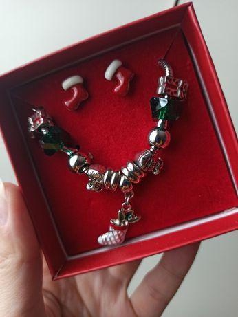 Bransoletka charms kolczyki komplet świąteczny różne rodzaje