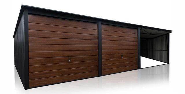 Garaż blaszany 3x5m Czerń + Orzech - Wynajmę