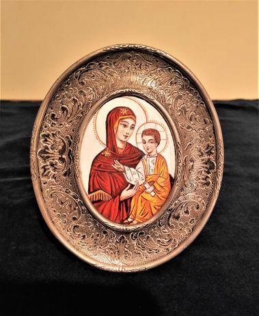 Ícone Ortodoxo Russo Nª Sra. e o Menino em Esmalte e Prata
