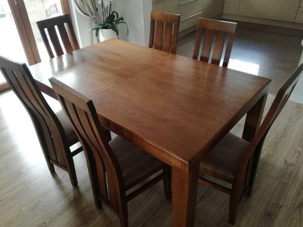 Stół rozkładany drewniany 160/260x100 oraz 6 krzeseł