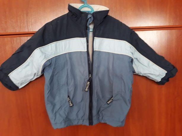 kurtka zimowa dla chłopca niebieskie paski