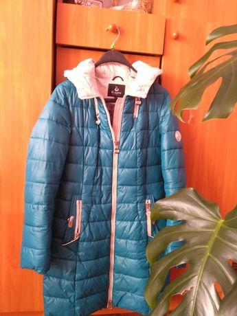 Зимове пальто бірюзового кольору