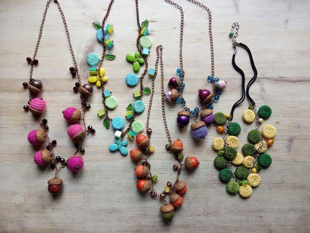 Naszyjniki - żołędzie, szydełko, filc, biżuteria, rękodzieło
