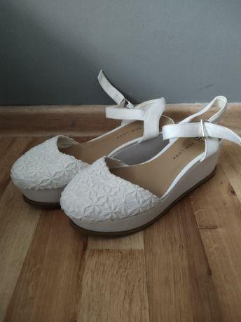 New Look nowe koronkowe sandałki białe
