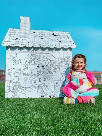 Крутая развивающая детска игра! Картонный Домик расскраска!