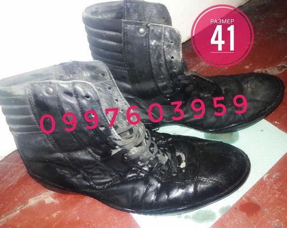 Качественные зимние теплые кожаные ботинки размер 41 мужские