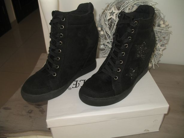 Czarne sneakersy buty sportowe koturny 37