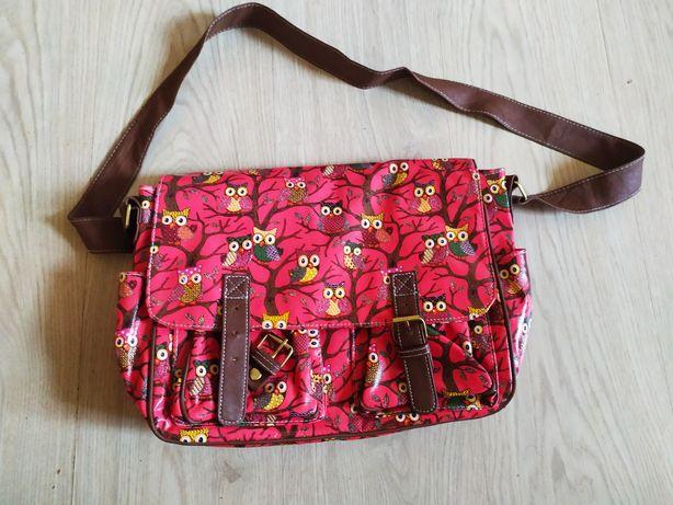 Сумка через плечо портфель для девочки совы розовая