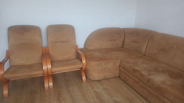 narożnik z funkcją spania + dwa fotele typu finka