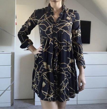 Sukienka rozkloszowana koszula łańcuchy stradivarius s 36