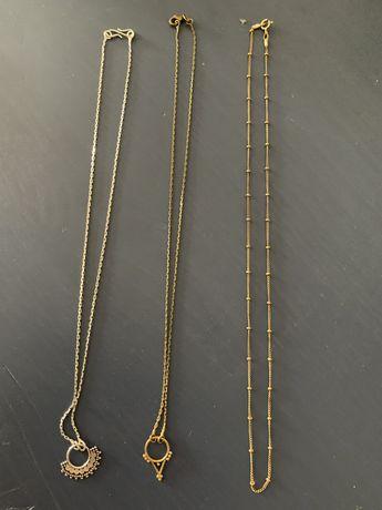 Fios/colares de  etnicos de latao, cor prata e bronze.