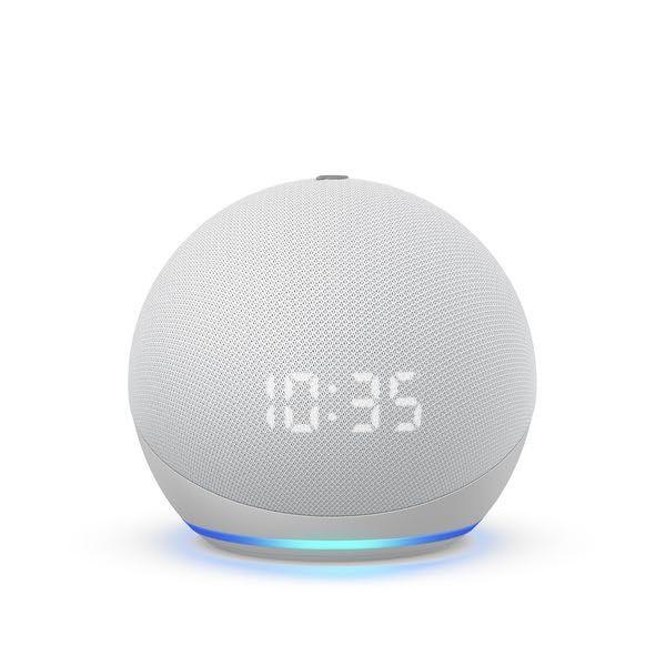AMAZON ECHO DOT 4 - Com Relógio - Branco - Alexa - Coluna inteligente