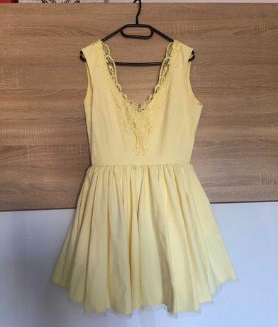 Sukienka rozkloszowana Lou Fiorra żółta rozmiar S