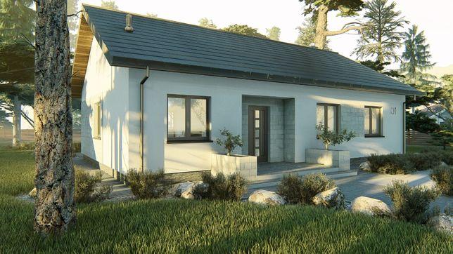 Projekt domu parterowego 94 m2 dach dwuspadowy, projekt typowy gotowy