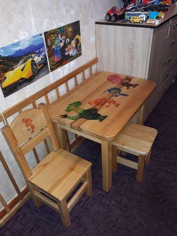 Дитячий дерев'яний комплект столик+2 стiльця з ясеню