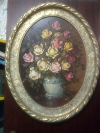 Fantástica antiga pintura natureza morta em óleo sobre platex- assinad