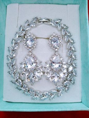 Biżuteria komplet kolczyki bransoletka kryształy ślub dzień kobiet