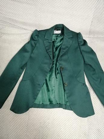 Школьный зелёный пиджак на рост 128 см
