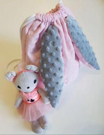 Nowy worek plecak króliczek minky różowy szary
