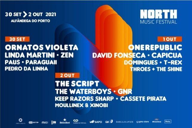 Vendo 2 bilhetes para o dia 2 de Outubro do North Music Festival