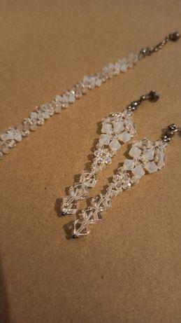 Biżuteria ślubna srebro kolczyki bransoletka