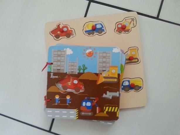 puzzle/zabawka drewniana/pojazdy budowlane/kreatywnie