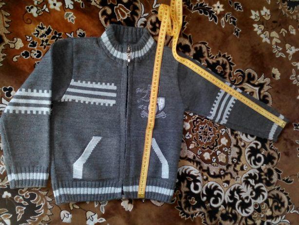теплий светр на молнии кофта на 3-4 роки