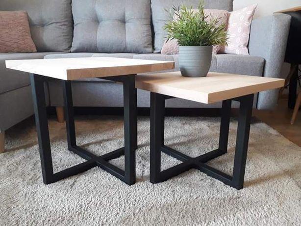 Zestaw 2 stoliki kawowe metal + drewno styl loftowy industrialny