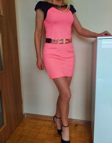 EKSKLUZYWNA sukienka mini róż neon z czarnym L złote logo GRATIS WYSYŁ