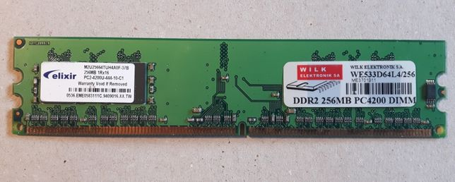 Pamięć RAM DDR 2 256 MB 533 MHz PC4200 Elixir M2U25664TUH4A0F 4 CL