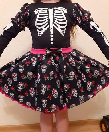 Платье скелет на девочку 7-12 лет
