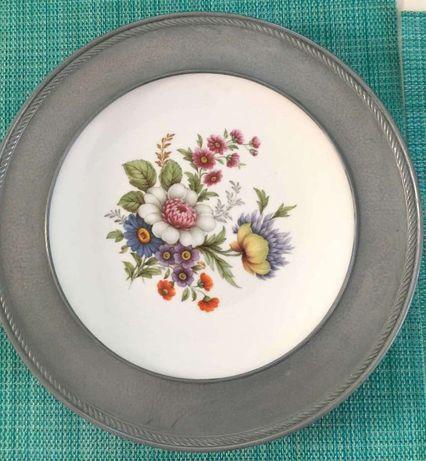 подставка фарфор тарелка на комод олово винтаж Apilco Франция цветы