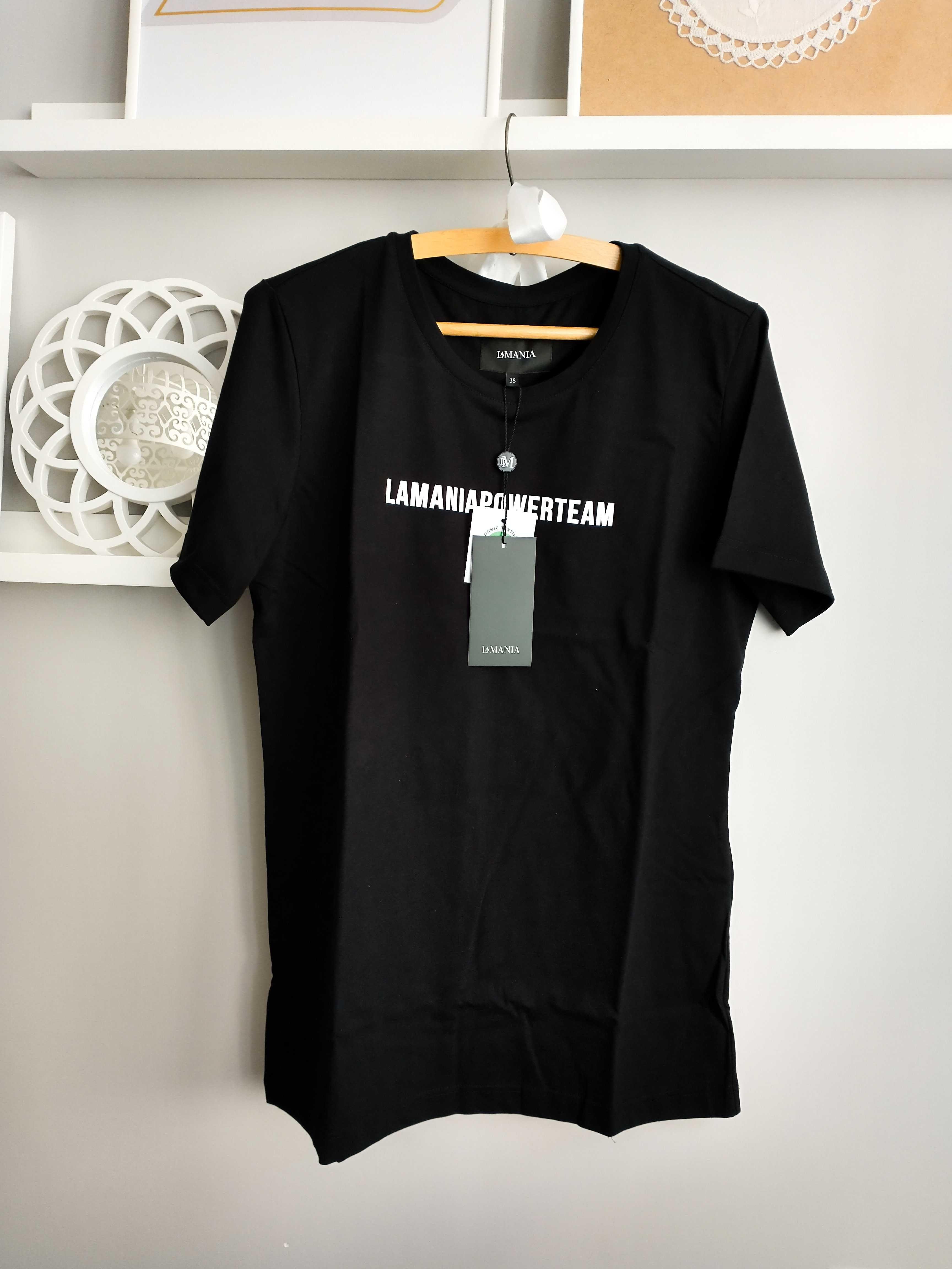 Nowy T-Shirt Koszulka La Mania 38 M Czarna Eko Bawełna Pasuje Na 40 L