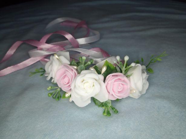 Bransoletka kwiaty różyczki kotylion ślub
