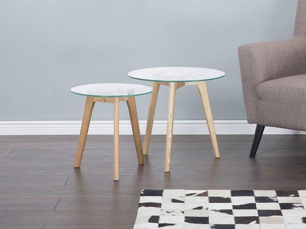 Conjunto de 2 mesas de centro com tampos de vidro  MISSOURI - Beliani