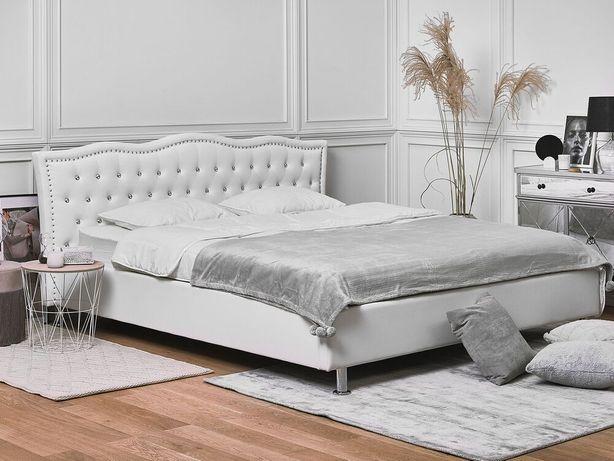 Cama de casal em pele branca estilo chesterfield com arrumação e estrado de ripas 160 x 200 cm METZ - Beliani