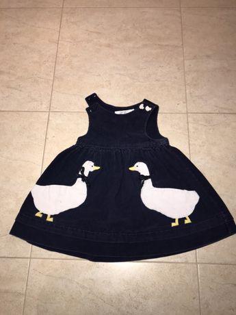 Sztruksowa sukienka 86 cm kaczki