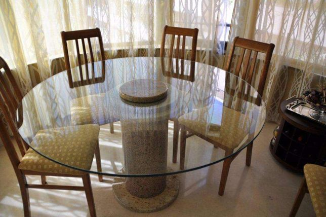 mesa granito / vidro 1,40m + mesa apoio