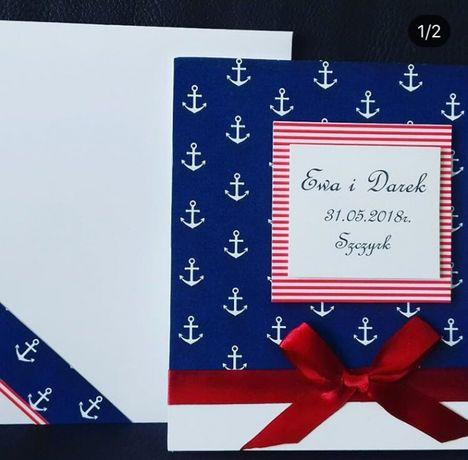 Kartka ślubna z motywem marynistycznym marynarskim kotwice zaproszenie