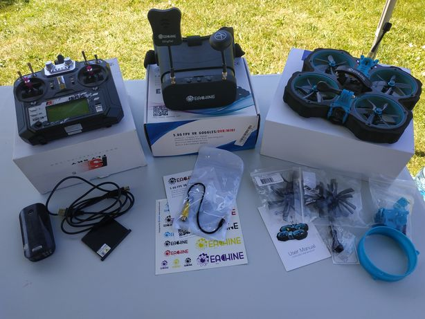 "Zestaw FPV dron 3"" cinewhoop aparatura gogle ładowarka lipo 4s"